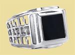 Перстень мужской из серебра с ониксом KS-1005