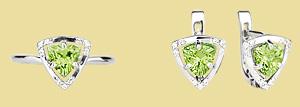 Серебряный комплект с хризолитом GS-5064