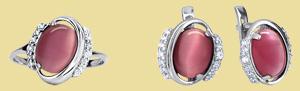 Серебряный комплект кошачий глаз GS-5045r