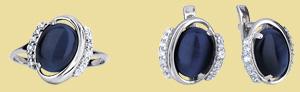 Серебряный комплект кошачий глаз GS-5045