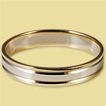 Обручальное кольцо бело-жёлтое 4 мм