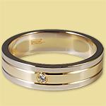 Обручальное кольцо диффузийное жёлто-белое с бриллиантом 0КД150104