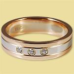Обручальное кольцо диффузийное бело-красное с бриллиантами 5 мм 6КД150102