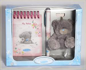 Набор: блокнотик, ручка, мишка на сумку G01G0061