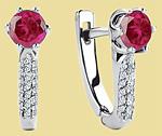 Серьги из платины с рубинами и бриллиантами NC-030R-01