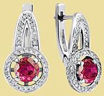 Серьги из платины с рубинами и бриллиантами NC-034R-01