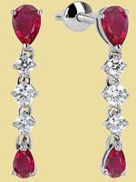Серьги платиновые с рубинами и бриллиантами