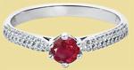 Кольцо с рубином и бриллиантами из платины