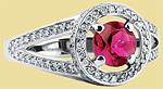 Кольцо с рубином и бриллиантами из платины NK-034R-01
