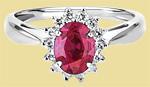 Кольцо платиновое с крупным рубином и бриллиантами