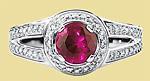 Кольцо с крупным рубином и бриллиантами
